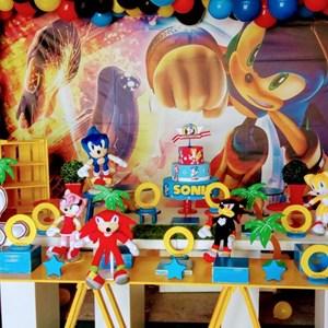 Decoração Completa Sonic - Mesa + Painel + arco de balões