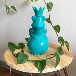 Sapo Encantando Verde Tiffany - Cerâmica com acabamento em veludo