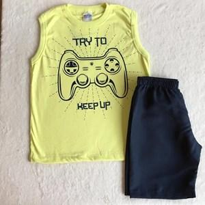 Conjunto Verão Amarelo e Preto Video Game TAM8