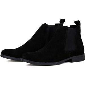 Botina chelsea Preta masculina bota casual urbano em couro camurça legitimo