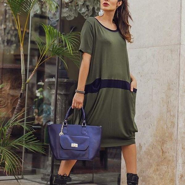 Vestido Máxi Bicolor- Verde/Azul