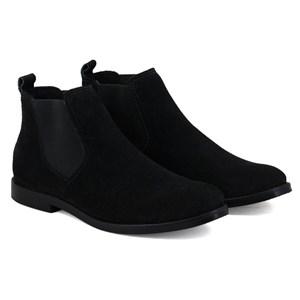 Botina feminina casual chelsea boots cano curto em couro camurça solado de borracha