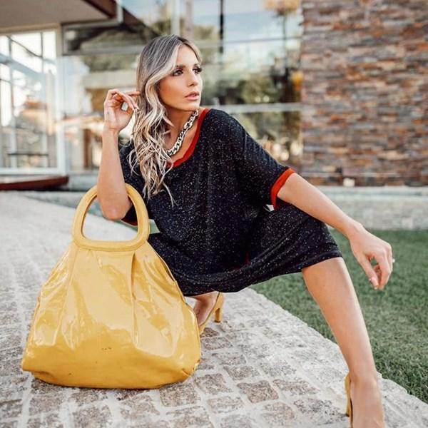 Vestido Bicolor Botone - Preto/Telha