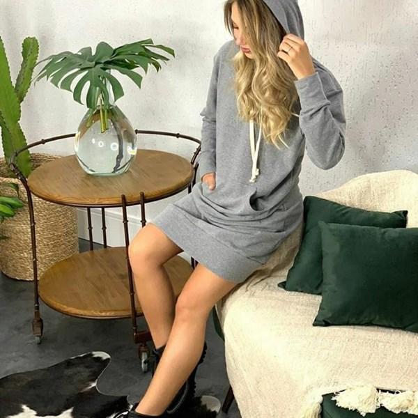 Vestido Moletom Mescla Cinza