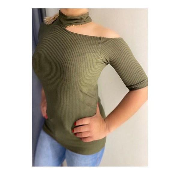 Blusa Ombro Vazado Canelado