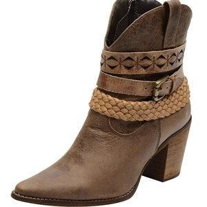 Bota feminina texana bico fino cano medio em couro legitimo