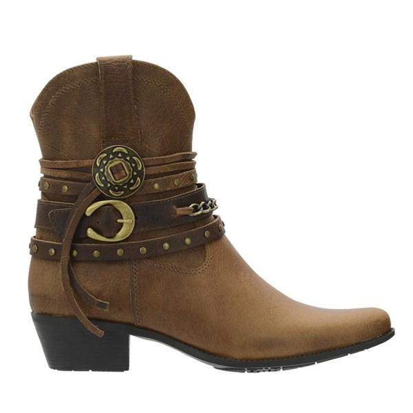 Bota bico fino feminina cano medio botinha texana country