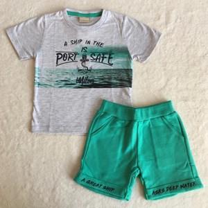 Conjunto Verão Cinza e Verde Mar TAM1