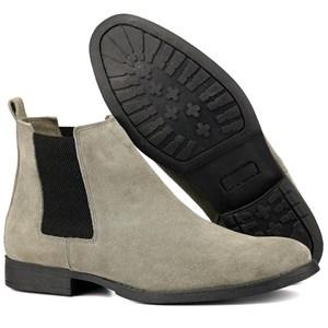 Botina chelsea masculina bota casual urbano em couro camurça legitimo Cinza
