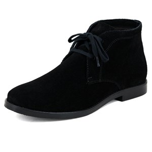 Bota feminina casual desert boots cano curto com cadarço solado de borracha couro Preto