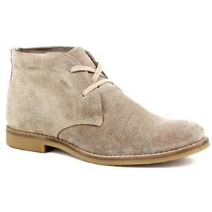 Bota casual masculina desert boots cano curto em couro areia