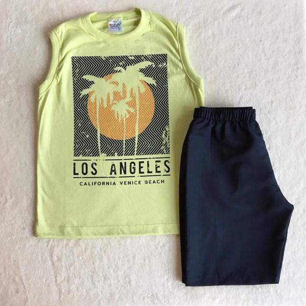 Conjunto Verão Amarelo e Preto Los Angeles TAM8