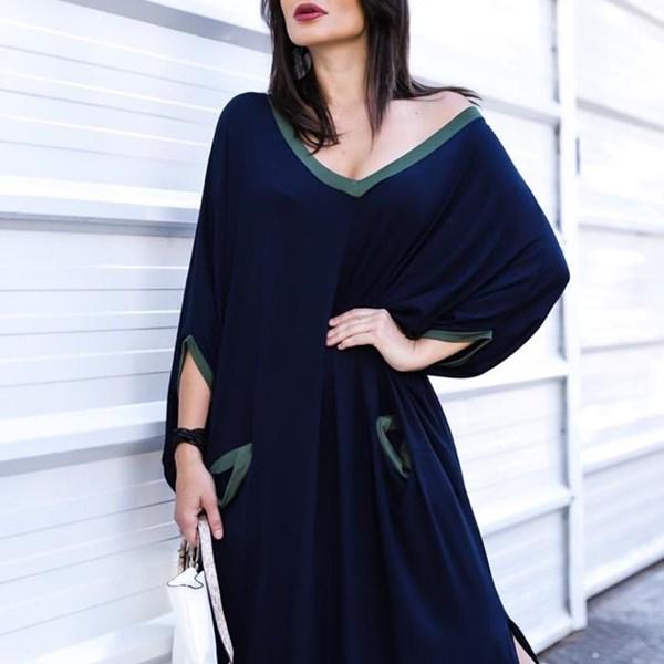 Vestido Max Vanessa- Marinho/Verde